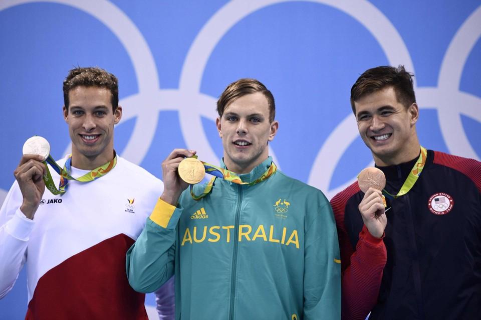 Krijgt olympisch titelverdediger Kyle Chalmers, met links Pieter Timmers, zijn prik eerder?