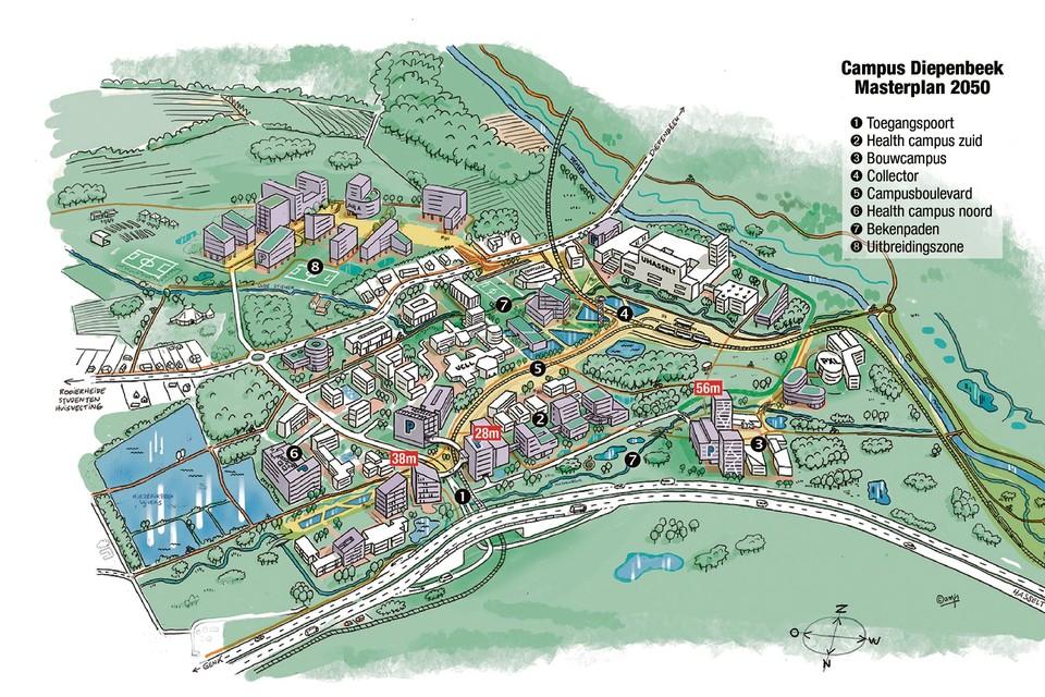 Zo zal Campus Diepenbeek er in 2050 uitzien: nieuwe hoge gebouwen (grijs) en een opvallende vergroening.