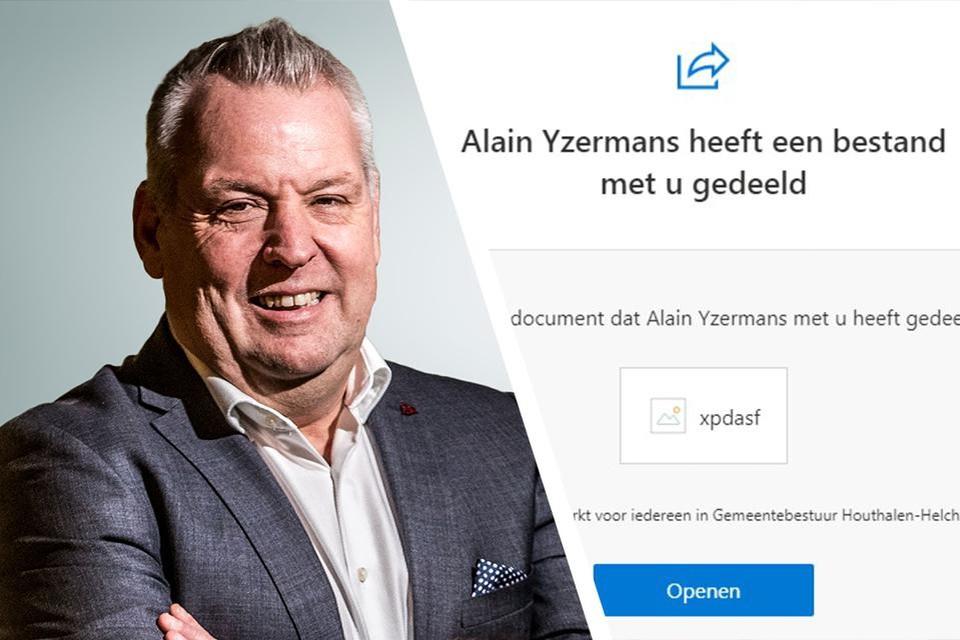 Aan de bestemmelingen wordt geadviseerd om geenszins op de link te klikken bij het bericht van burgemeester Yzermans.