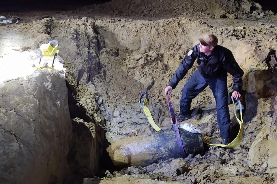 De bom van 500 kilo zwaar.
