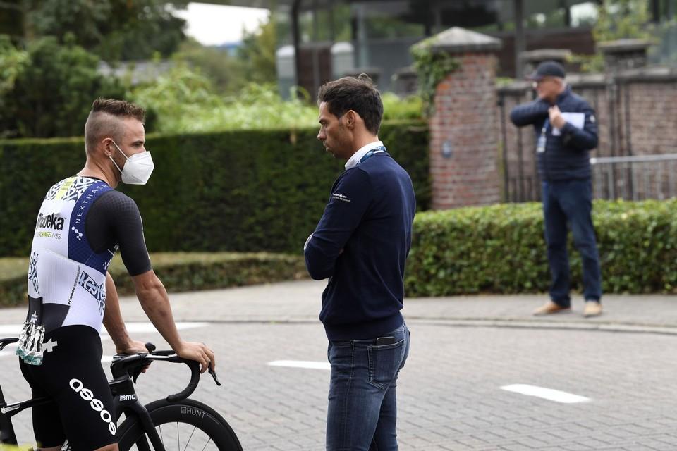 Victor Campenaerts met bondscoach Sven Vanthourenhout. C