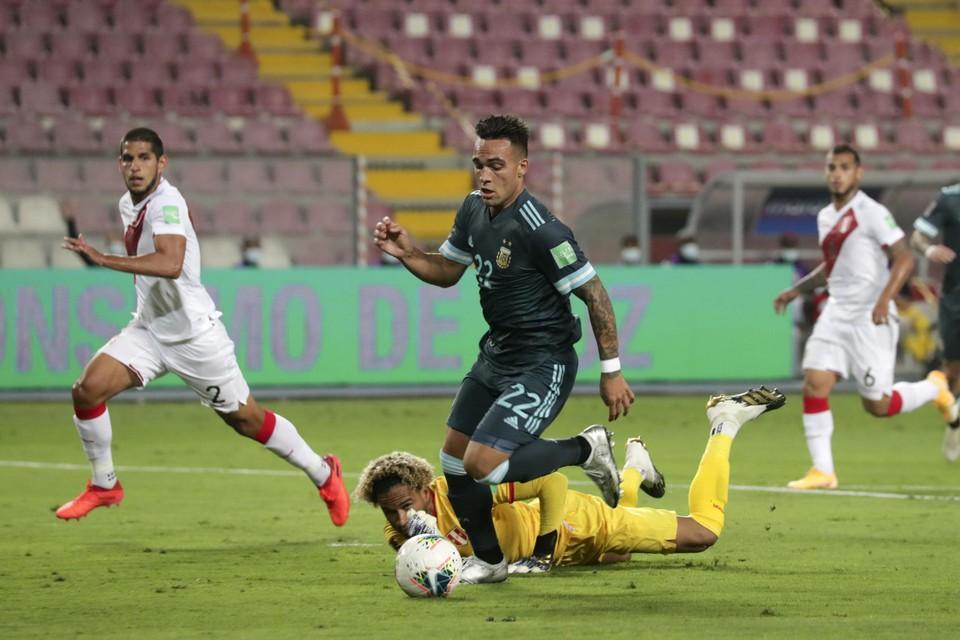 Lautaro Martinez aan het werk tegen Peru.