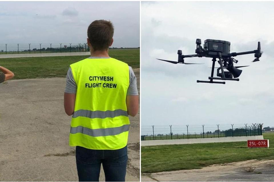 De drone moet vogels weghouden van de vliegtuigen.