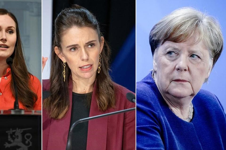 Premier van Finland Sanna Marin, premier van Nieuw-Zeeland Jacinda Ardern, bondskanselier van Duitsland Angela Merkel.