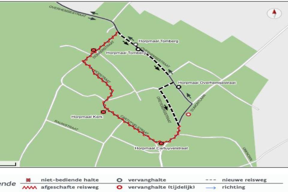 Door werken zijn er in het centrum van Horpmaal vervanghaltes voorzien voor Lijn 3.