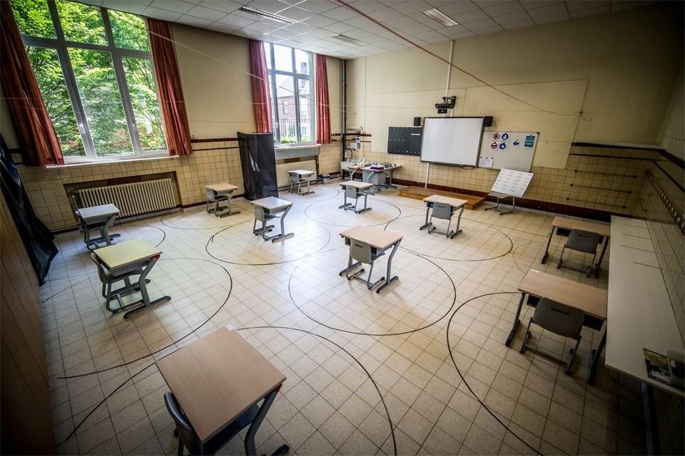 In basisschool De Horizon in Beringen hebben leerlingen in de klas een eigen, afgebakende bubbel.