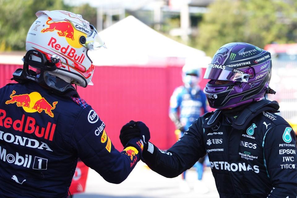 Max Verstappen en Lewis Hamilton