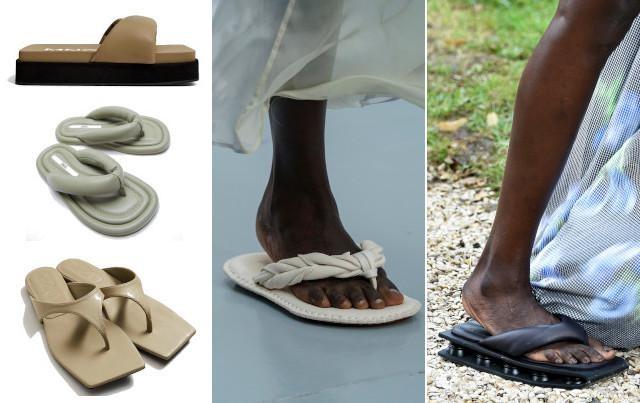 Flip flops met platformzooltje - 59,99 euro - Mango, mintgroene flipflops - 39,95 euro - Zara en beige flip flops met rechte neus - 29,99 euro - Mango/ Acné Studios en Kenzo