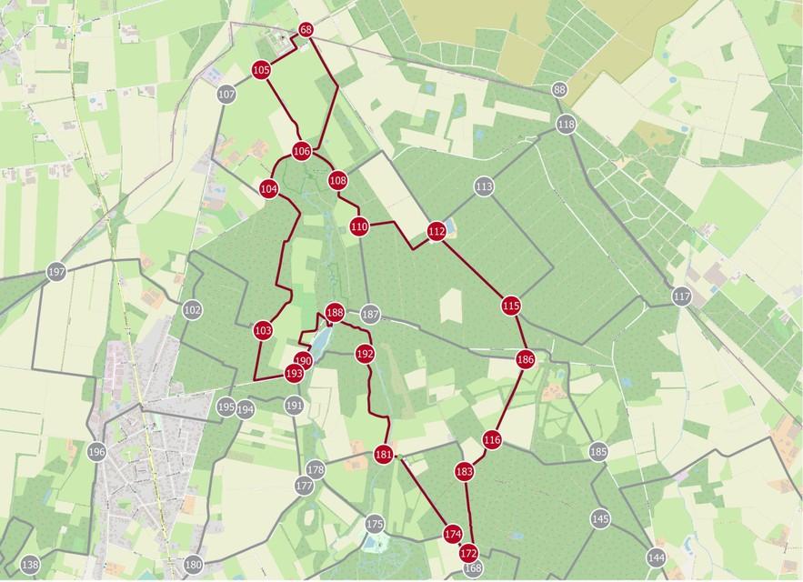 Route langs wandelknooppunten in Hamont-Achel