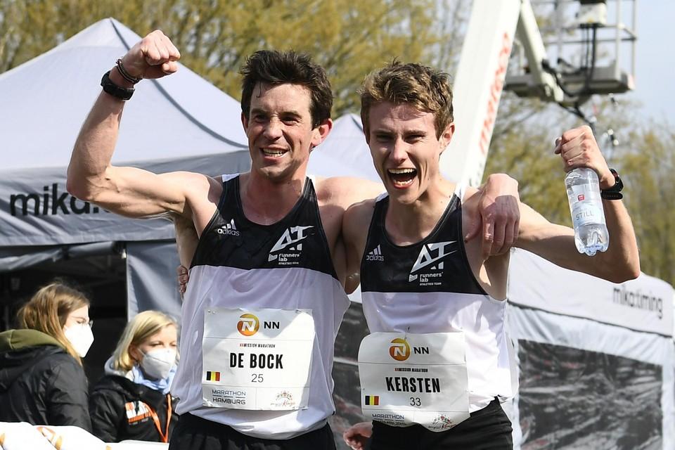 Dieter Kersten viert zijn olympisch ticket met Thomas De Bock.
