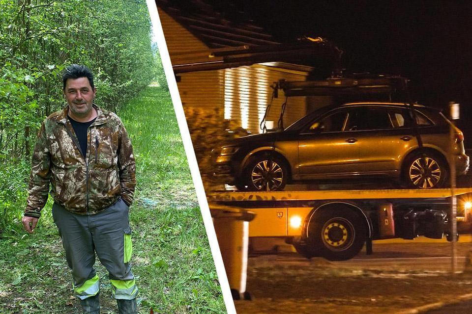 Jager Patrick Budé op de plek waar hij de Audi van de voortvluchtige militair vond.