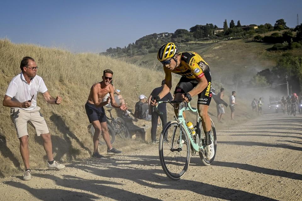Wout van Aert vorig jaar op de Strade Bianche.